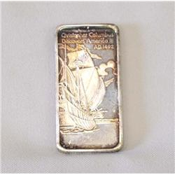 One Troy Silver Ounce Ingot Christopher Columbus