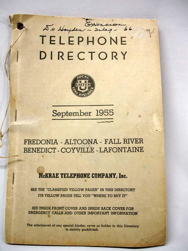Antique Telephone And 1955 Telephone Book
