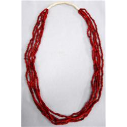 Native American Navajo 5 Strand Glass Coral Necklace