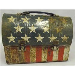 Vintage Patriotic Stars and Stripes Lunch Pail