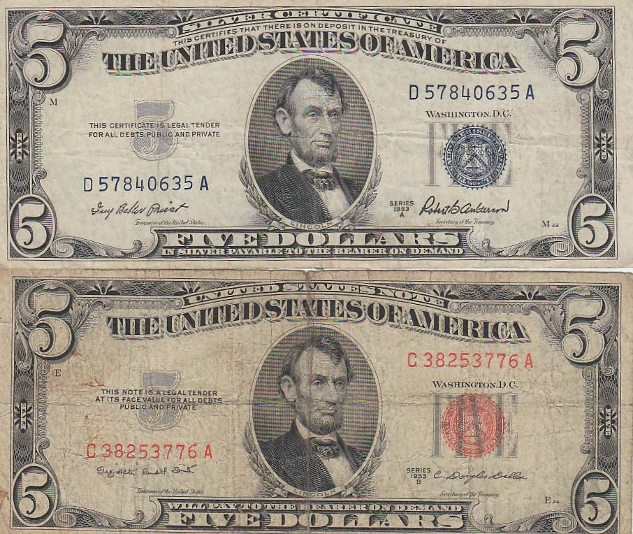$5 SILVER CERTIFICATE AND RED SEAL 1953 SERIES