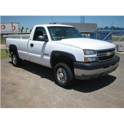 2005 CHEVY 2500 HD REG CAB, GAS ONLY,