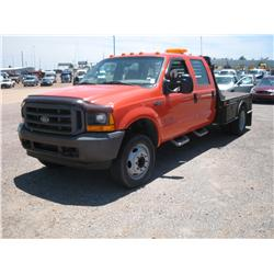 2001 FORD F450 XL SUPERDUTY, DIESEL, CREW CAB, FLAT BED,