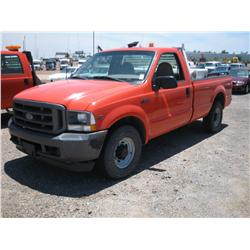 2002 FORD F2F0 XL SUPERDUTY REG CAB,