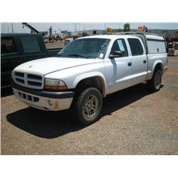 2002 DODGE DAKOTA CREW CAB, W CAMPER & TOOLBOXES,
