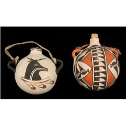 "Acoma Pottery Canteen 5"" L. 6"" W. and a Zuni Figured Pottery Canteen 5"" L. 5"" W.  Good Condition"