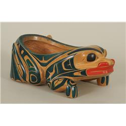 "Kwakwaka'wakw Frog Bowl Carved by Francis Horne 12"" L. 7"" W. 4 3/4"" H.  Fine Condition"