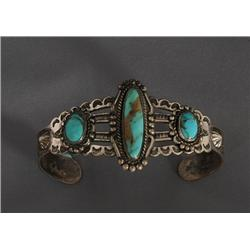 Navajo Silver and Turquoise Bracelet 21.4 GMS Fred Harvey Era with Twisted Wire Around Stones 5 1/4""