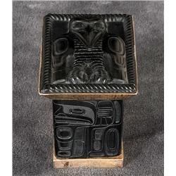 "Jay Simeon Argillite and Silver Box with Raven Design 3 1/3"" H. 3 1/4"" L. 2 1/2"" W.  Fine Condition"