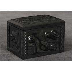 "Ed Russ Argillite Box Carved with Orca, Eagle and Raven Design 3 1/3"" H. 3 1/4"" L. 2 1/2"" W.  Fine C"