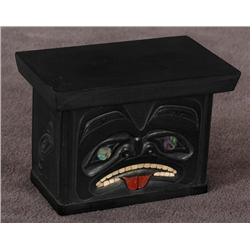 "Argillite Box Carved by Andrew Williams with Abalone and Catlinite Inlays 3"" L. 2"" W. 2 1/4"" H.  Fin"