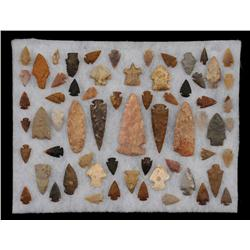 "Collection of 63 Midwestern Arrowheads and Spear Points 1"" - 4 1/2"" L."