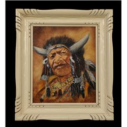 "Oil Painting on Canvas of ""Walking Buffalo"" Signed M.C. Leckie 14 1/4""x 16 1/4"" Framed  Good Conditi"