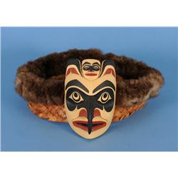"Phil Gray Yellow Cedar Thunderbird Frontlet with Cedar Bark and Rabbit Fur 5 1/4"" H. 11""x 12 1/2""  F"