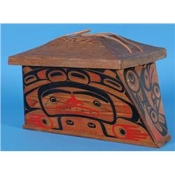 "Larry Rosso and Glen Rabena Carved Canoe Box with Painted Human, Raven and Halibut Design 18 3/4"" L."