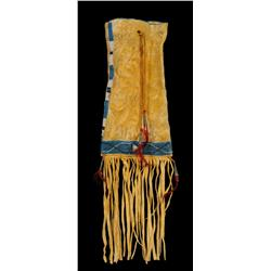 "Ute Beaded Buckskin Tobacco Bag 18 1/2"" L. Including Fringe  Good Condition"