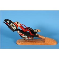 "Large Kwakwaka'wakw Raven Rattle Carved by Simon Dick 20 3/4"" L. 5 1/4"" W.  Fine Condition"