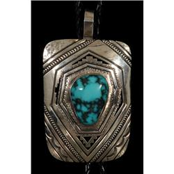 "Navajo Silver and Villa Grove Turquoise Bolo Tie Made by Peter Nelson 88 GMS Pendant 2 7/8"" H. 2 1/8"