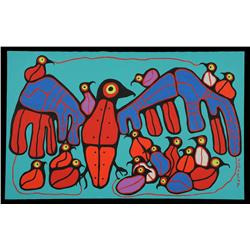 "Norval Morrisseau Painting on Canvas of a Grouse with Babies 30""x 48""  Fine Condition"