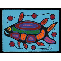 Norval Morrisseau Painting on Paper of Spirit Fish 22 1/2 x 30   Fine Condition