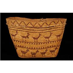 Superb Chilcotin Fully Imbricated Burden Basket with 29 Zoomorphic Figures and Willow Strip 17 1/4""