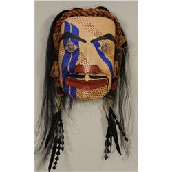"""Tx'amsemin in Human Form"" Mask with Carved Silver Medallion Eyes, Horsehair and Cedar Bark Trim Car"