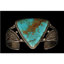 Museum Quality Navajo Ingot Silver and Blue Gem Mine Turquoise Bracelet 57 GMS Hand Stamped 5 7/8  L