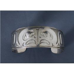 Silver Bracelet with Hawk Design Signed LKM 6 3/4  L. 1  W.  Fine Condition