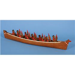 Nuu-chah-nulth Model Canoe with Eleven Paddlers - Carved and Painted 30  L.  4  W.  Fine Condition
