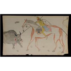 Cheyenne Drawing on Ledger Paper - Detailed Rendering of Cheyenne Warrior Spearing Buffalo, Done in