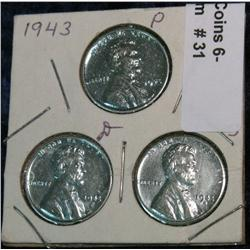 31. 1943 P, D, & S U.S. World War II Cent Set. AU.