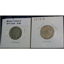 46. 1918 P G & 18 D (Acid treated)  Buffalo Nickels.