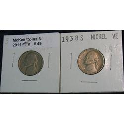 49. 1938 D & S Jefferson Nickels. VF-20.