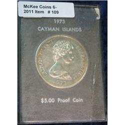 109. 1973 Cayman Islands Silver Five Dollar. Proof. Rare 17,000 mtg.