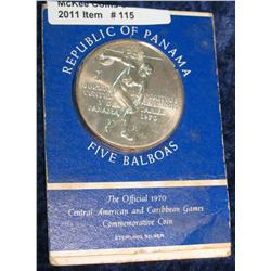 115. 1970 Panama Central American Games Five Balboas.