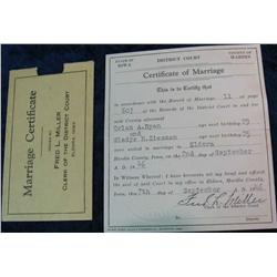 129. 1946 Iowa Certificate of Marriage. Hardin County.