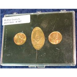 147. Set of Three Masonic Pennies. BU. One embossed