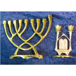510. (2) Brass Candlestick holders from Israel.