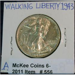 556. 1943 P Walking Liberty Half Dollar. AU 50.