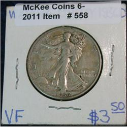558. 1936 D Walking Liberty Half Dollar. VF-20.