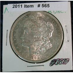 565. 1921 P Morgan Silver Dollar. AU 50.