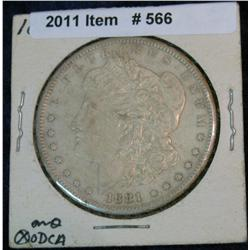 566. 1881 S Morgan Silver Dollar. AU 50.