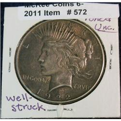 572. 1922 P Peace Silver Dollar. Toned AU.