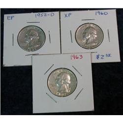 577. 1952D, 60P, & 63P Washington Quarters. EF-AU.