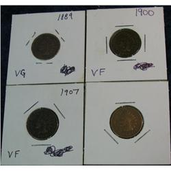 654. 1889, 1900, 06, & 07 Indian Cents. VG-F.