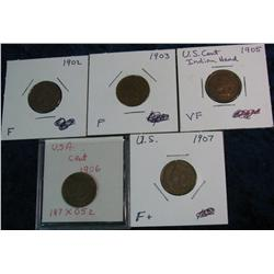 655. 1902, 03, 05, 06, & 07 Indian Cents. VG-VF.