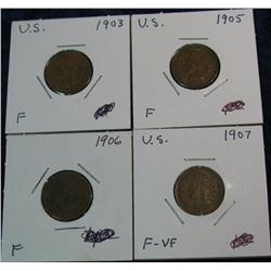 656. 1903, 05, 06, & 07 Indian Cents. F-VF.
