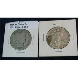 664. 1906 O Barber Half Dollar AG & 40 S Walking Liberty
