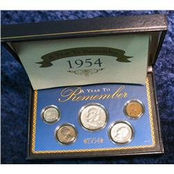 711. 1954 U.S. Year Set of U.S. Coins. Cent to Half-Dollar.