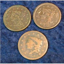 721. (3) Old 1850 era U.S. Large Cents. Fair to AG condition.